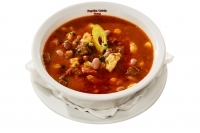 Bean gulyás soup in a bowl -