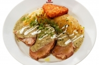 """Viennese plate meat with dill sauce, mashed potatoes with onion and """"Rösti"""" potatoes -"""