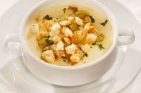Cream of garlic soup with croutons -